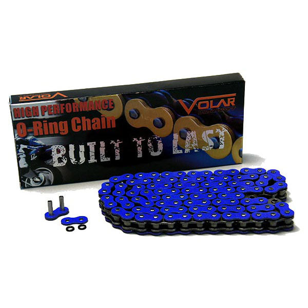 Volar O-Ring Motorcycle Chain for Extended Swingarm - Blue for 525 x 150 Links