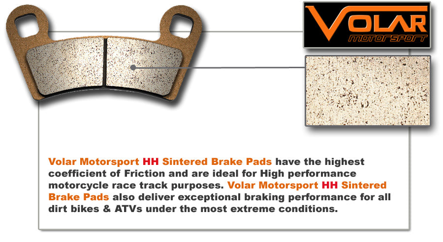 1989-2004 Yamaha Warrior 350 YFM350X Sintered HH Rear Brake Pads