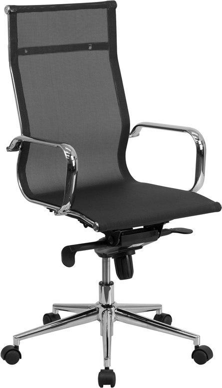 Flash Furniture BT-2768H-GG High Back Transparent Black Mesh Executive Swivel Chair with Synchro-Tilt Mechanism and Arms