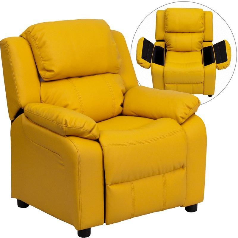 Flash Furniture BT-7985-KID-YEL-GG Deluxe Padded Contemporary Yellow Vinyl Kids Recliner with Storage Arms