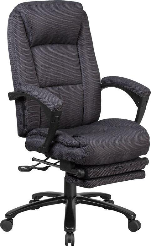 Flash Furniture BT-90288H-GY-GG High Back Gray Fabric Executive Reclining Swivel Office Chair with Comfort Coil Seat Springs and Padded Arms