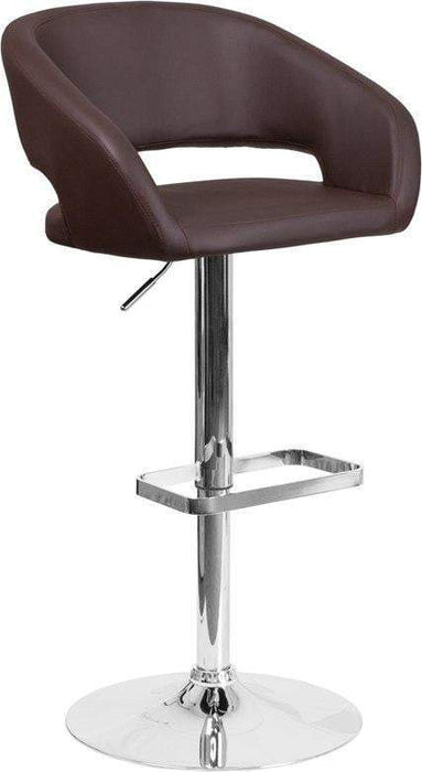 Flash Furniture CH-122070-BRN-GG Contemporary Brown Vinyl Adjustable Height Barstool with Chrome Base