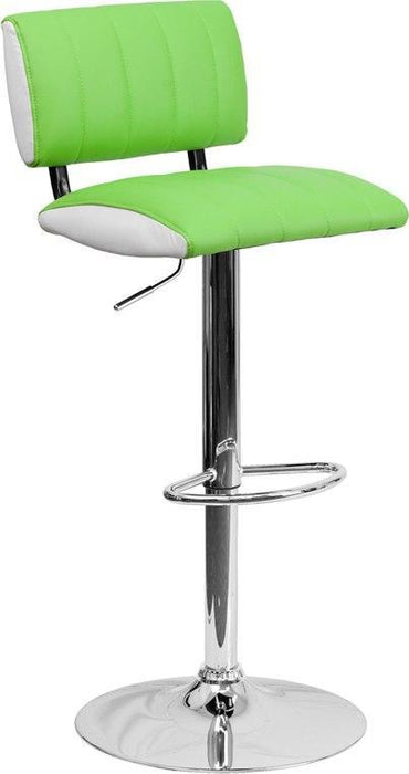 Flash Furniture CH-122150-GRN-GG Contemporary Two-Tone Green & White Vinyl Adjustable Height Barstool with Chrome Base