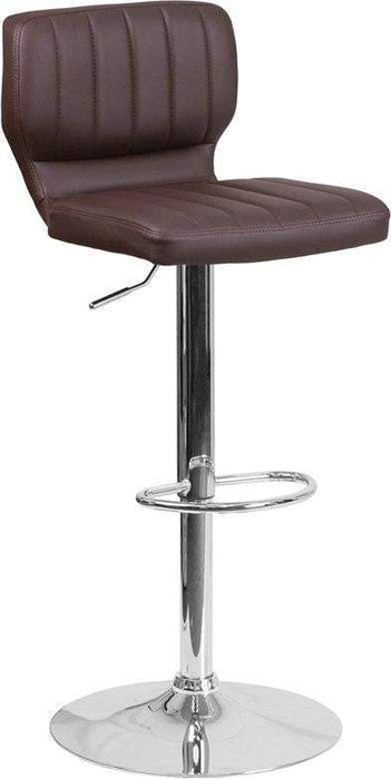Flash Furniture CH-132330-BRN-GG Contemporary Brown Vinyl Adjustable Height Barstool with Chrome Base