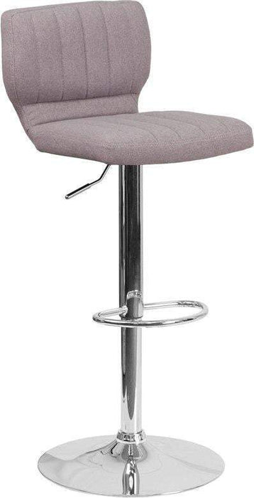 Flash Furniture CH-132330-GYFAB-GG Contemporary Gray Fabric Adjustable Height Barstool with Chrome Base