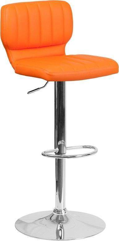 Flash Furniture CH-132330-ORG-GG Contemporary Orange Vinyl Adjustable Height Barstool with Chrome Base
