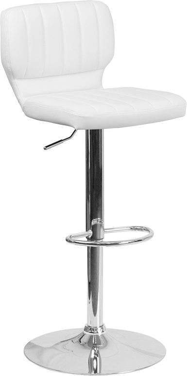 Flash Furniture CH-132330-WH-GG Contemporary White Vinyl Adjustable Height Barstool with Chrome Base