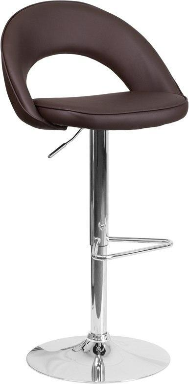 Flash Furniture CH-132491-BRN-GG Contemporary Brown Vinyl Rounded Back Adjustable Height Barstool with Chrome Base