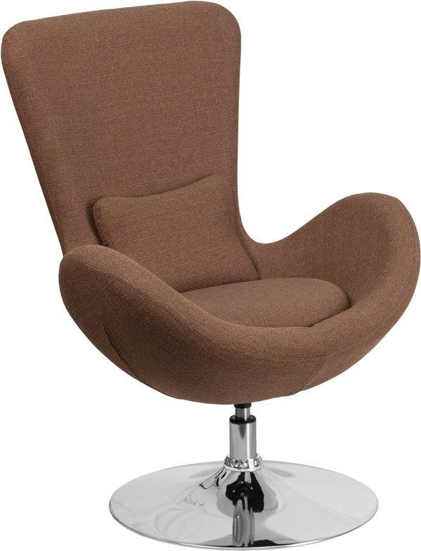 Flash Furniture CH-162430-BN-FAB-GG Egg Series Brown Fabric Side Reception Chair