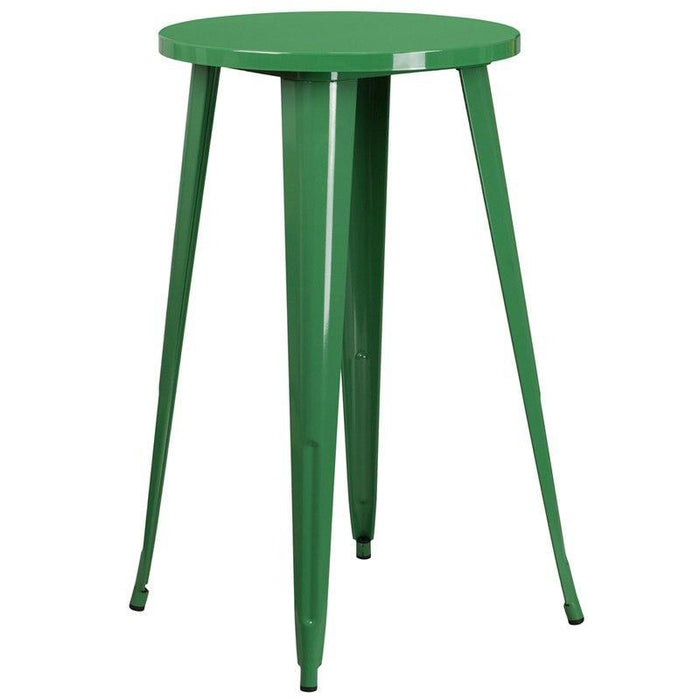 Flash Furniture CH-51080-40-GN-GG 24'' Round Green Metal Indoor-Outdoor Bar Height Table