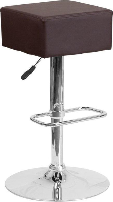 Flash Furniture CH-82058-4-BRN-GG Contemporary Brown Vinyl Adjustable Height Barstool with Chrome Base
