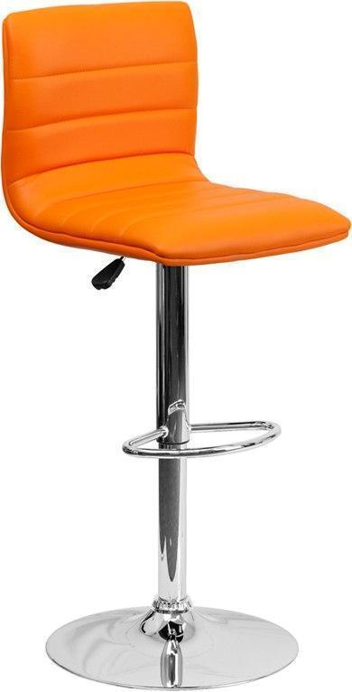 Contemporary Orange Vinyl Adjustable Height Barstool with Chrome Base CH-92023-1-ORG-GG by Flash Furniture