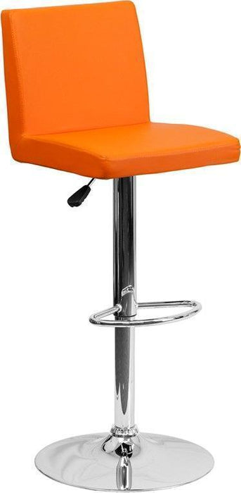 Contemporary Orange Vinyl Adjustable Height Barstool with Chrome Base CH-92066-ORG-GG by Flash Furniture