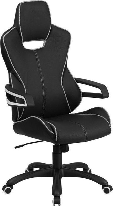 High Back Black Vinyl Executive Swivel Chair with White Trim and Arms CH-CX0699H01-GG by Flash Furniture