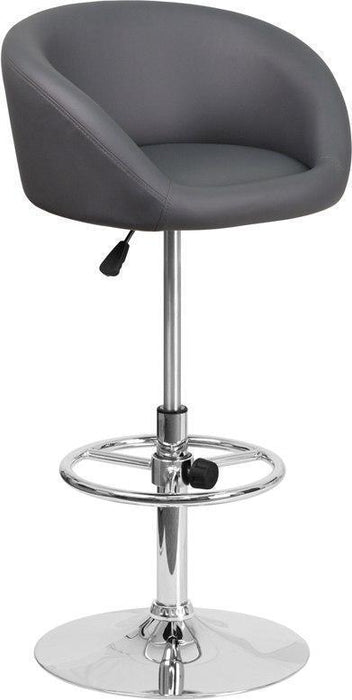 Contemporary Gray Vinyl Adjustable Height Barstool with Chrome Base CH-TC3-1066L-GY-GG by Flash Furniture