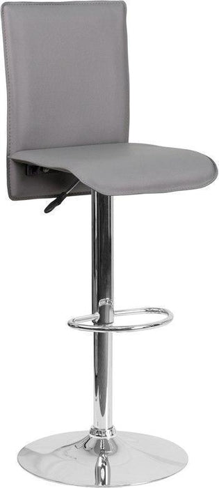 Contemporary Gray Vinyl Adjustable Height Barstool with Chrome Base CH-TC3-1206-GY-GG by Flash Furniture