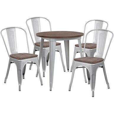 26RD Silver Metal Table Set CH-WD-TBCH-10-GG by Flash Furniture