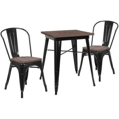 23.5SQ Black Metal Table Set CH-WD-TBCH-15-GG by Flash Furniture