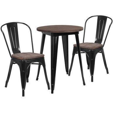 24RD Black Metal Table Set CH-WD-TBCH-21-GG by Flash Furniture