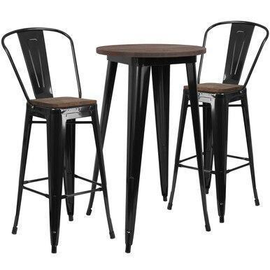 24RD Black Metal Bar Set CH-WD-TBCH-22-GG by Flash Furniture