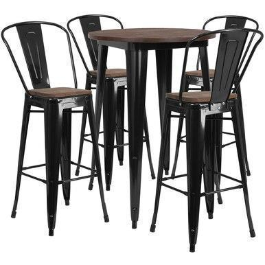 30RD Black Metal Bar Set CH-WD-TBCH-25-GG by Flash Furniture