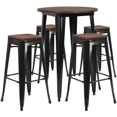 30RD Black Metal Bar Set CH-WD-TBCH-26-GG by Flash Furniture