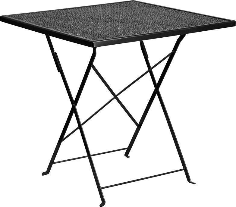 28'' Square Black Indoor-Outdoor Steel Folding Patio Table CO-1-BK-GG by Flash Furniture