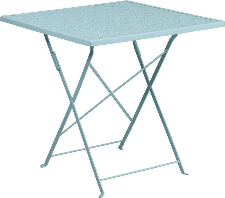 28'' Square Sky Blue Indoor-Outdoor Steel Folding Patio Table CO-1-SKY-GG by Flash Furniture
