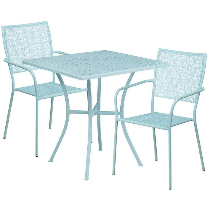 28'' Square Sky Blue Indoor-Outdoor Steel Patio Table Set with 2 Square Back Chairs CO-28SQ-02CHR2-SKY-GG by Flash Furniture