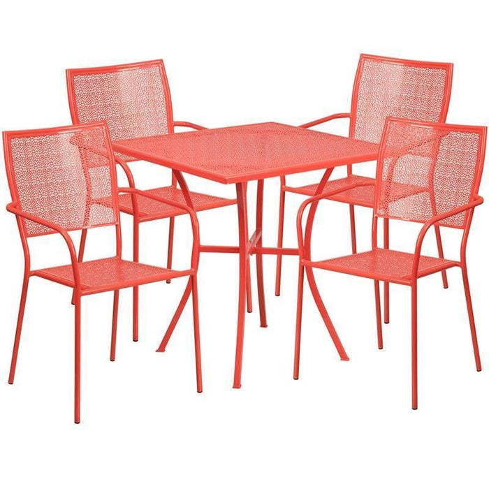 28'' Square Coral Indoor-Outdoor Steel Patio Table Set with 4 Square Back Chairs CO-28SQ-02CHR4-RED-GG by Flash Furniture