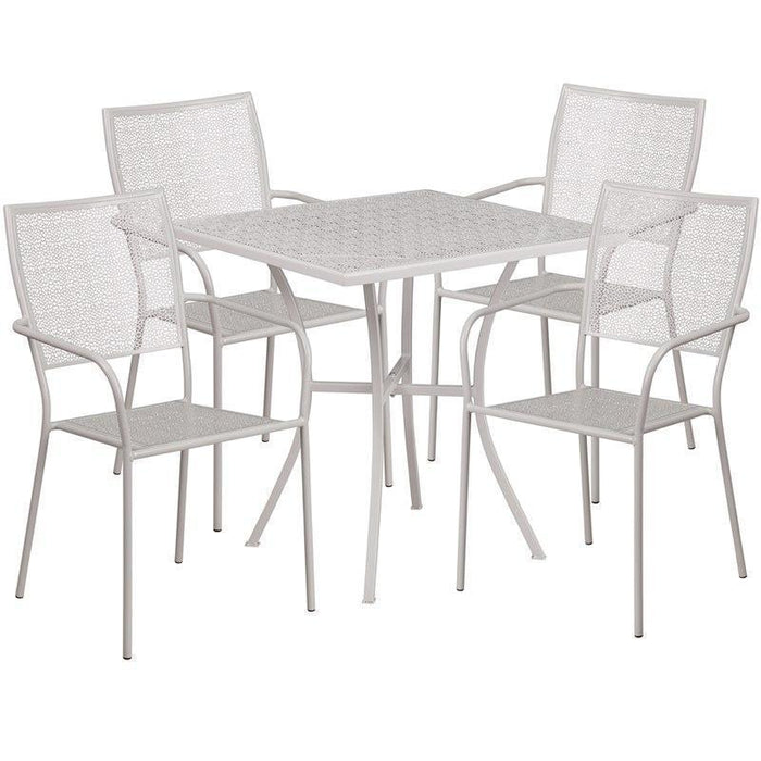 28'' Square Light Gray Indoor-Outdoor Steel Patio Table Set with 4 Square Back Chairs CO-28SQ-02CHR4-SIL-GG by Flash Furniture