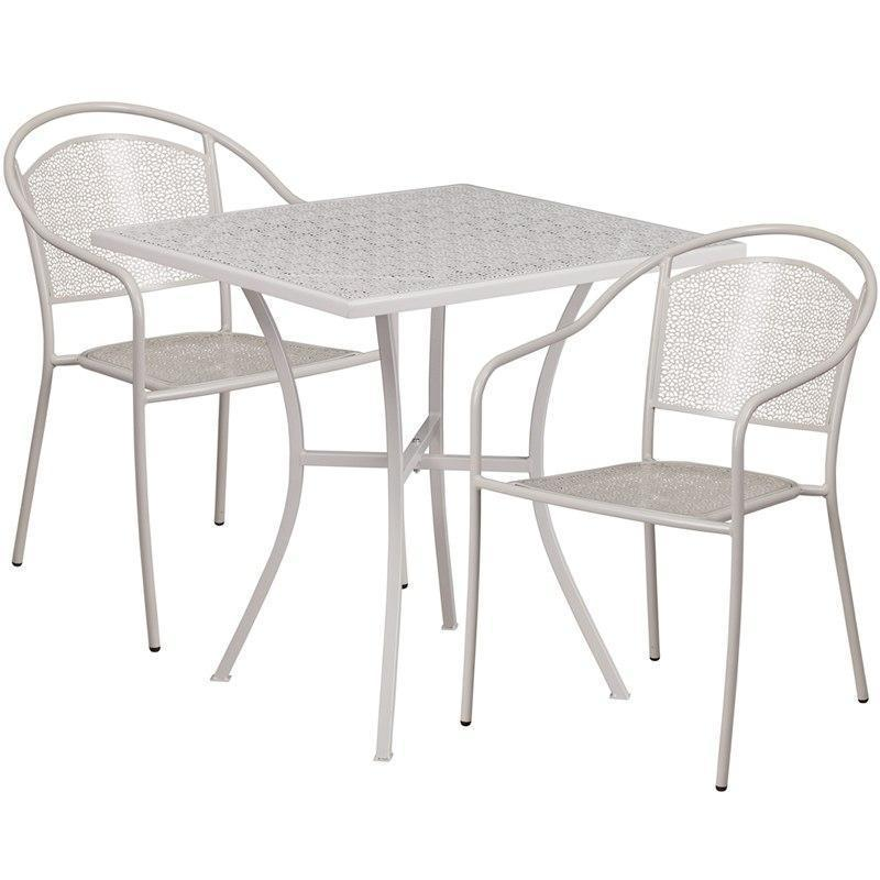 28'' Square Light Gray Indoor-Outdoor Steel Patio Table Set with 2 Round Back Chairs CO-28SQ-03CHR2-SIL-GG by Flash Furniture