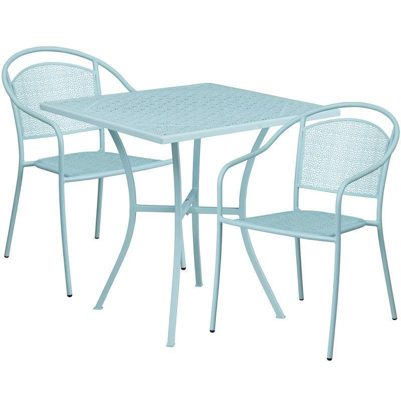 28'' Square Sky Blue Indoor-Outdoor Steel Patio Table Set with 2 Round Back Chairs CO-28SQ-03CHR2-SKY-GG by Flash Furniture