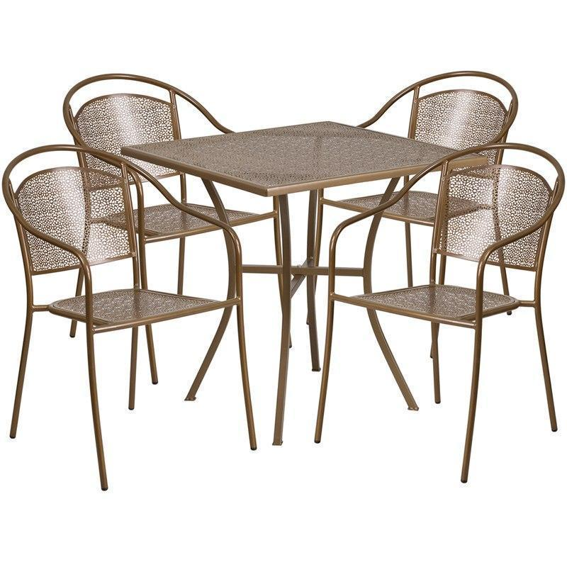 28'' Square Gold Indoor-Outdoor Steel Patio Table Set with 4 Round Back Chairs CO-28SQ-03CHR4-GD-GG by Flash Furniture