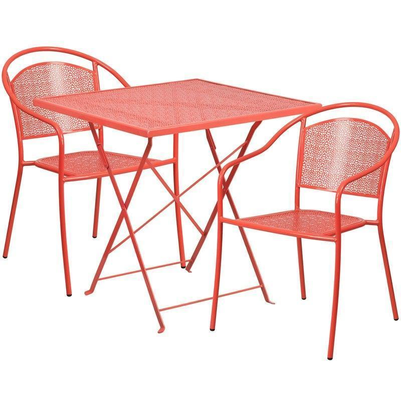28'' Square Coral Indoor-Outdoor Steel Folding Patio Table Set with 2 Round Back Chairs CO-28SQF-03CHR2-RED-GG by Flash Furniture