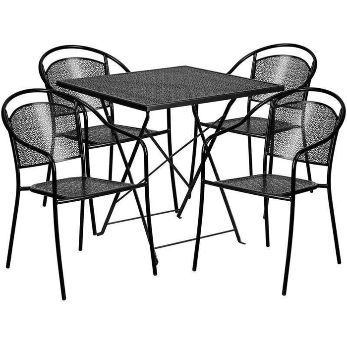 28'' Square Black Indoor-Outdoor Steel Folding Patio Table Set with 4 Round Back Chairs CO-28SQF-03CHR4-BK-GG by Flash Furniture
