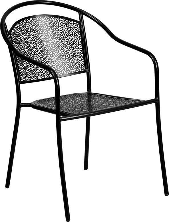 Black Indoor-Outdoor Steel Patio Arm Chair with Round Back CO-3-BK-GG by Flash Furniture