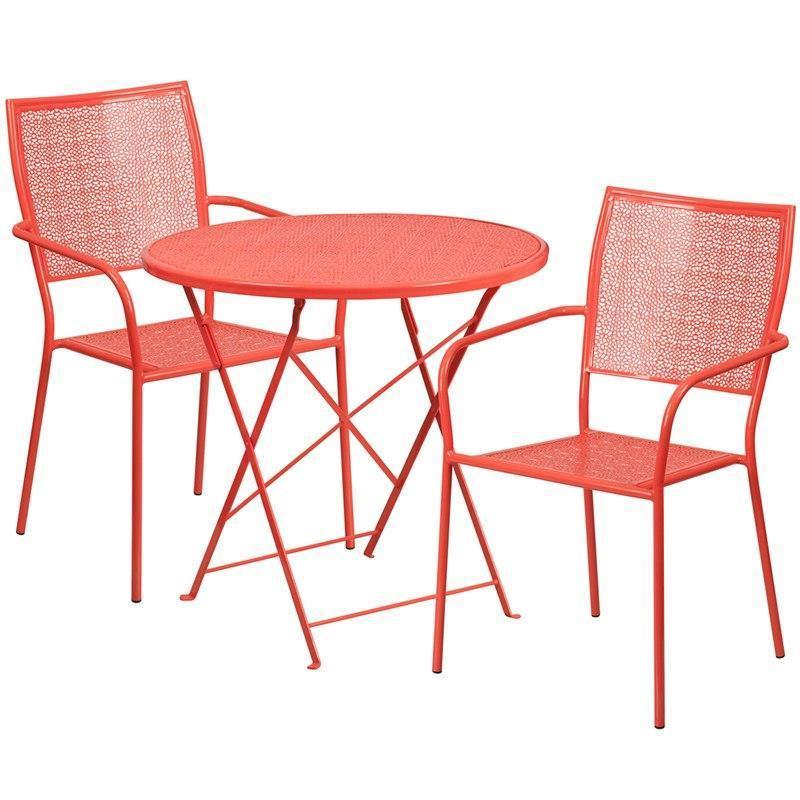 30'' Round Coral Indoor-Outdoor Steel Folding Patio Table Set with 2 Square Back Chairs CO-30RDF-02CHR2-RED-GG by Flash Furniture