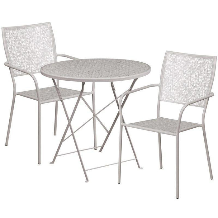 30'' Round Light Gray Indoor-Outdoor Steel Folding Patio Table Set with 2 Square Back Chairs CO-30RDF-02CHR2-SIL-GG by Flash Furniture
