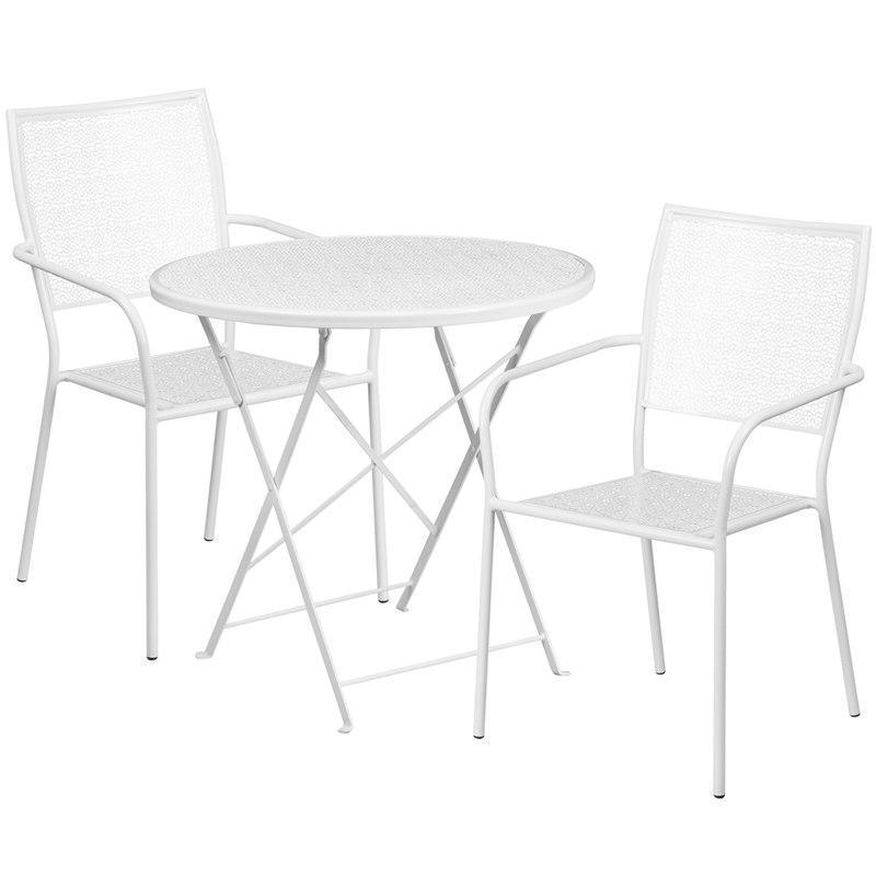 30'' Round White Indoor-Outdoor Steel Folding Patio Table Set with 2 Square Back Chairs CO-30RDF-02CHR2-WH-GG by Flash Furniture