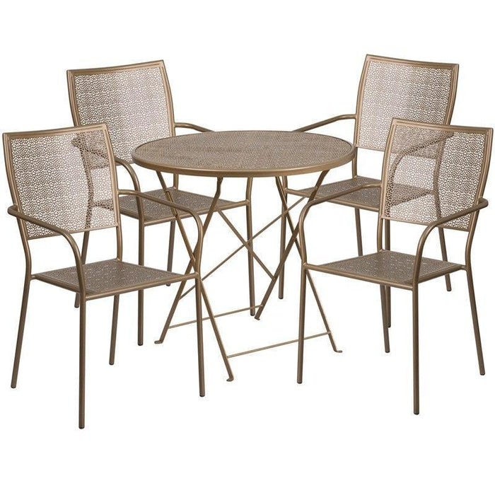30'' Round Gold Indoor-Outdoor Steel Folding Patio Table Set with 4 Square Back Chairs CO-30RDF-02CHR4-GD-GG by Flash Furniture