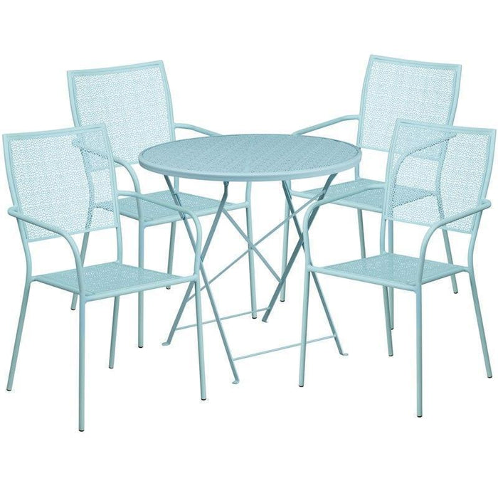 30'' Round Sky Blue Indoor-Outdoor Steel Folding Patio Table Set with 4 Square Back Chairs CO-30RDF-02CHR4-SKY-GG by Flash Furniture