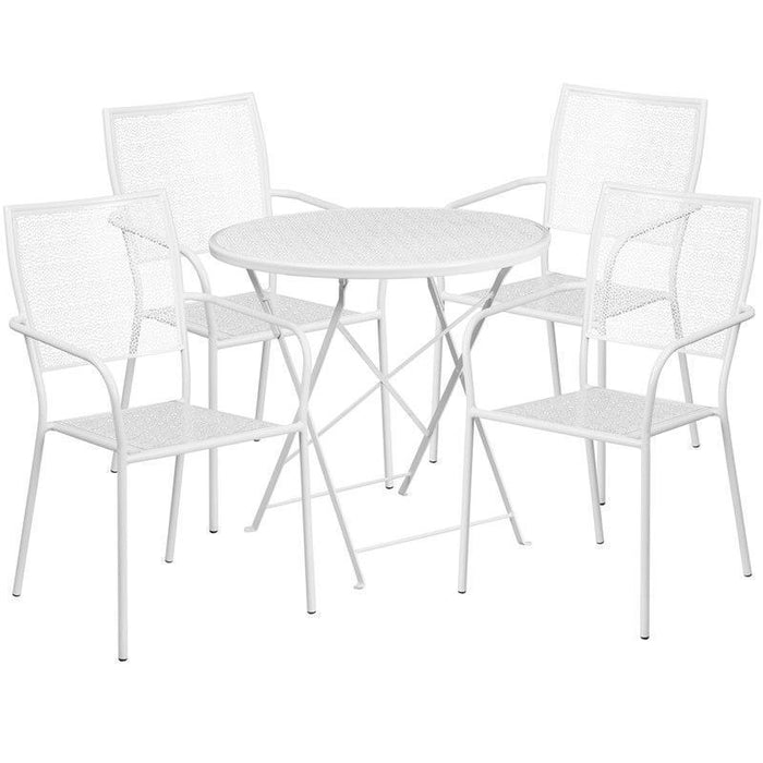 30'' Round White Indoor-Outdoor Steel Folding Patio Table Set with 4 Square Back Chairs CO-30RDF-02CHR4-WH-GG by Flash Furniture