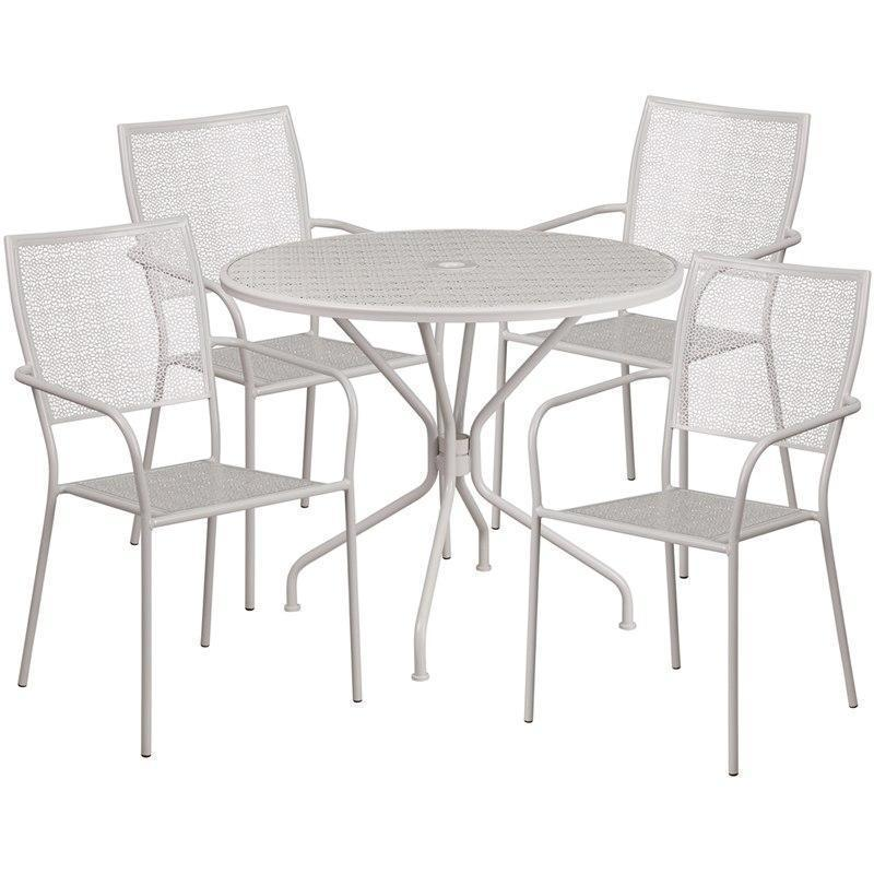 35.25'' Round Light Gray Indoor-Outdoor Steel Patio Table Set with 4 Square Back Chairs CO-35RD-02CHR4-SIL-GG by Flash Furniture