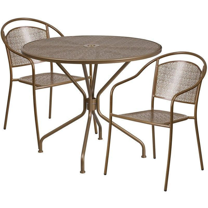 35.25'' Round Gold Indoor-Outdoor Steel Patio Table Set with 2 Round Back Chairs CO-35RD-03CHR2-GD-GG by Flash Furniture