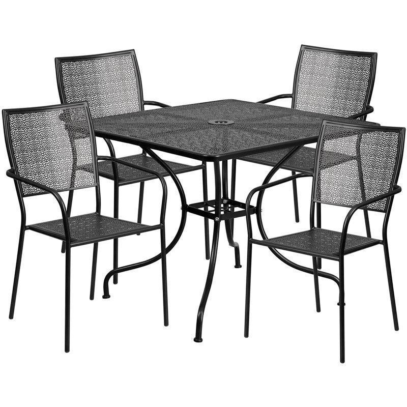 35.5'' Square Black Indoor-Outdoor Steel Patio Table Set with 4 Square Back Chairs CO-35SQ-02CHR4-BK-GG by Flash Furniture
