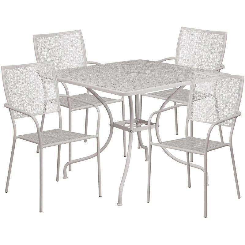 35.5'' Square Light Gray Indoor-Outdoor Steel Patio Table Set with 4 Square Back Chairs CO-35SQ-02CHR4-SIL-GG by Flash Furniture
