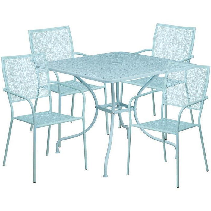 35.5'' Square Sky Blue Indoor-Outdoor Steel Patio Table Set with 4 Square Back Chairs CO-35SQ-02CHR4-SKY-GG by Flash Furniture