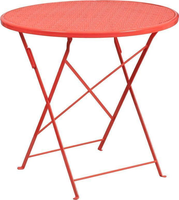 30'' Round Coral Indoor-Outdoor Steel Folding Patio Table CO-4-RED-GG by Flash Furniture