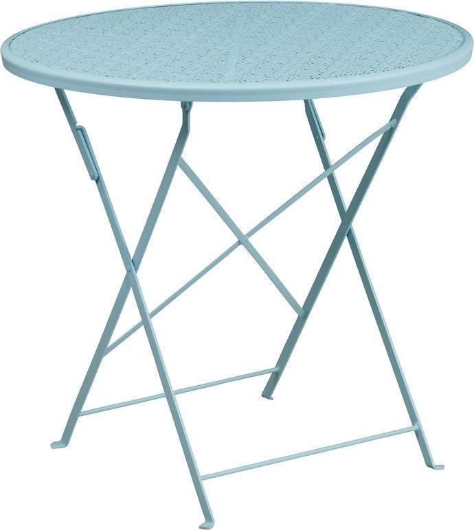 30'' Round Sky Blue Indoor-Outdoor Steel Folding Patio Table CO-4-SKY-GG by Flash Furniture